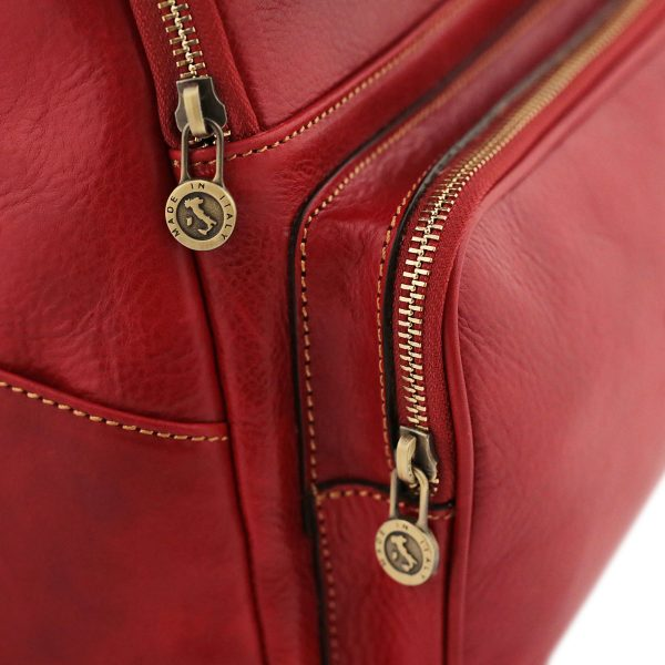 sac a dos cuir rouge femme