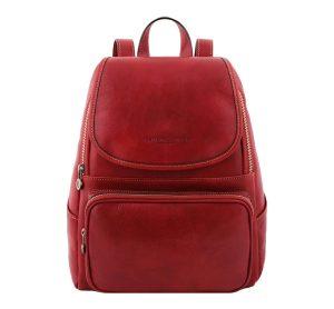 sac a dos cuir rouge
